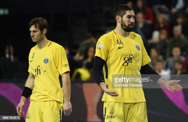 Paris' Nikola Karabatic reacts during the French D1 handball match between Montpellier and Paris at Sud de France Arena on December 21 2017 in...