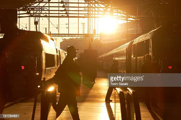 paris north station at sunset. - gare du nord stock pictures, royalty-free photos & images