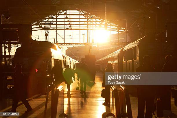 paris north station at sunset - gare du nord stock pictures, royalty-free photos & images