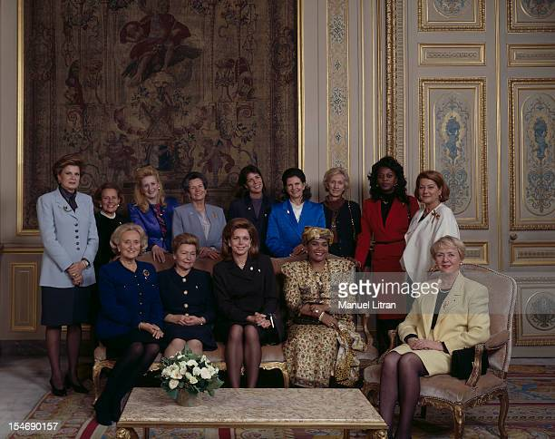 Paris November 27 Women of Heads of State pose in the living room of the Rotunda at the Quai d'Orsay was the Annual Gala of the Foundation for...