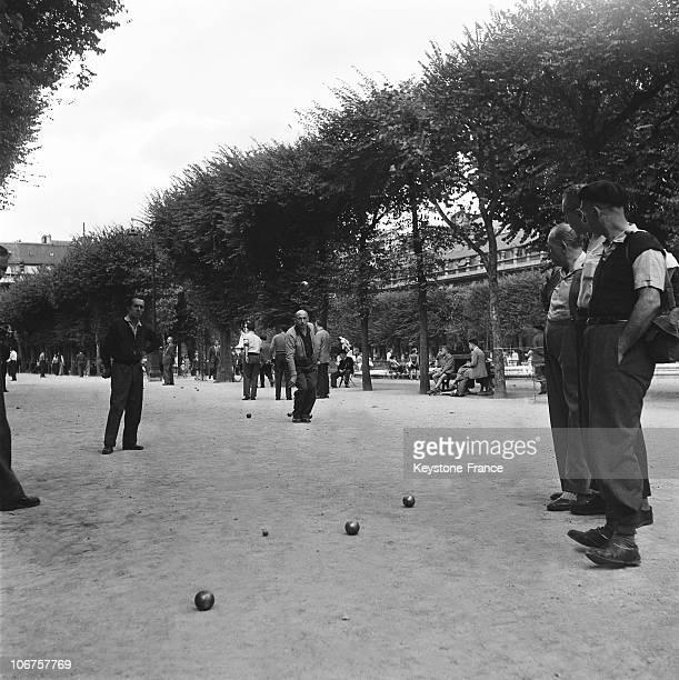 Paris Palais Royal Garden A Traditional Petanque Game In 1956
