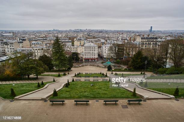 paris panoramic view from montmartre - holy city park stock pictures, royalty-free photos & images