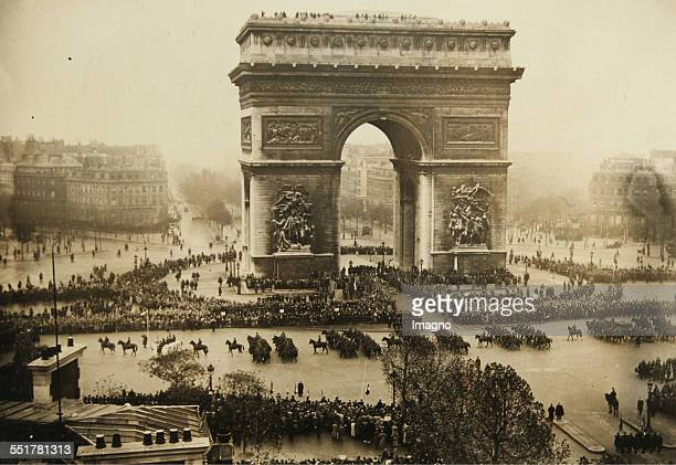 Paris Parade in front of the Arc de Triomphe on occasion of the celebration of the Truce of 1918 11th November 1934 Photograph