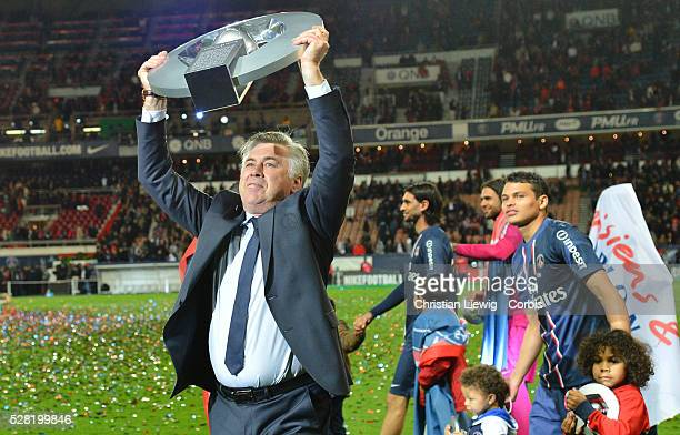 Paris SaintGermain's Carlo Ancelotti during a French L1 football match between Paris St Germain and Brest on May 18 2013 at Parc des Princes stadium...