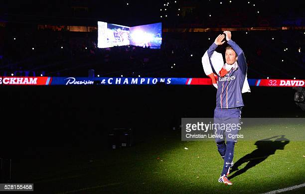 Paris SaintGermain's David Beckam during a French L1 football match between Paris St Germain and Brest on May 18 2013 at Parc des Princes stadium in...