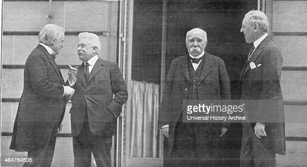 Paris Peace Conference which led to Treaty of Versailles after end of World War l Meeting between Prime Ministers Orlando Lloyd George Clemenceau and...