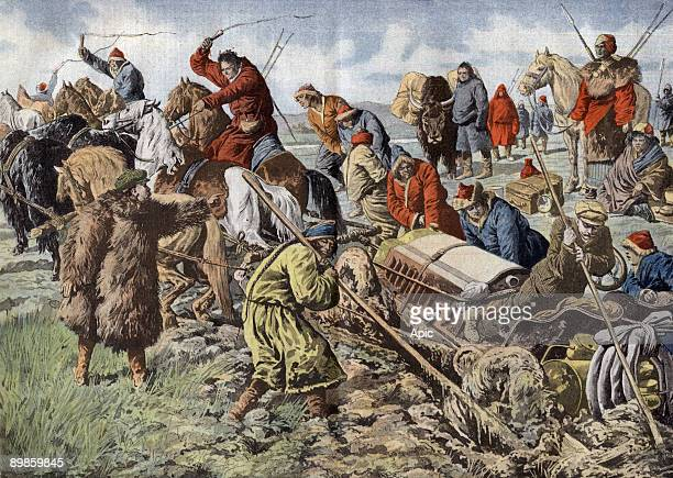 Paris Pekin raid in Mongolia Mongolian horsemen removing from a marsh a car illustration from french newspaper 'Le Petit Journal' july 14 1907