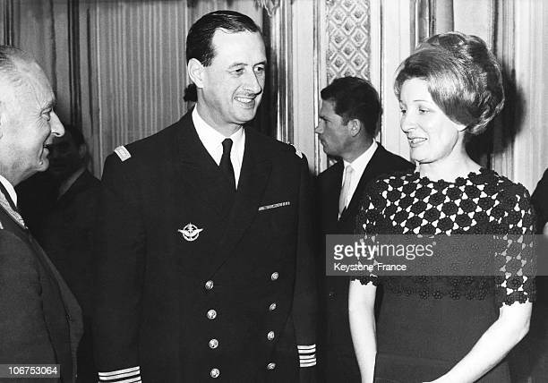 Paris Philippe De Gaulle And Her Wife During A Reception At The Soviet Embassy In France December 1955
