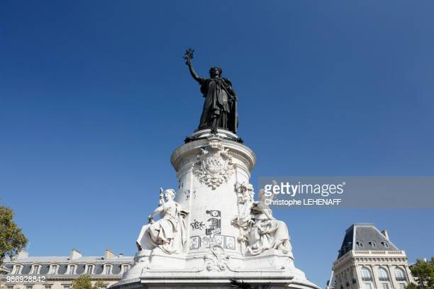 paris. place of the republic. monument with the republic. - place de la republique paris stock pictures, royalty-free photos & images
