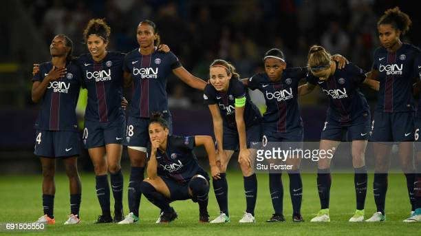Paris players look on during the penalty shoot out during the UEFA Women's Champions League Final between Lyon and Paris Saint Germain at Cardiff...