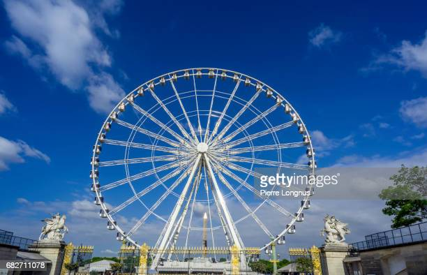 Paris : Point of View of the Paris Ferris Wheel from the Tuileries Garden Gate, Concorde Obelik Shining in the Background