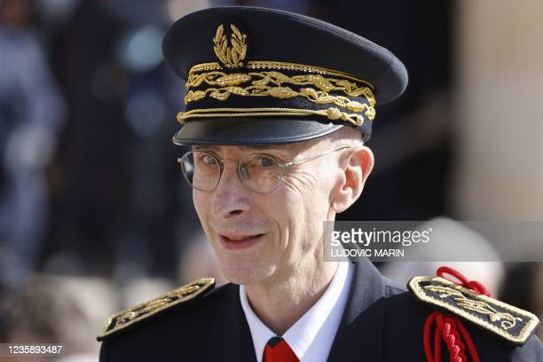 Paris police prefect Didier Lallement is seen ahead of a national memorial service for Hubert Germain - the last surviving Liberation companion - at...