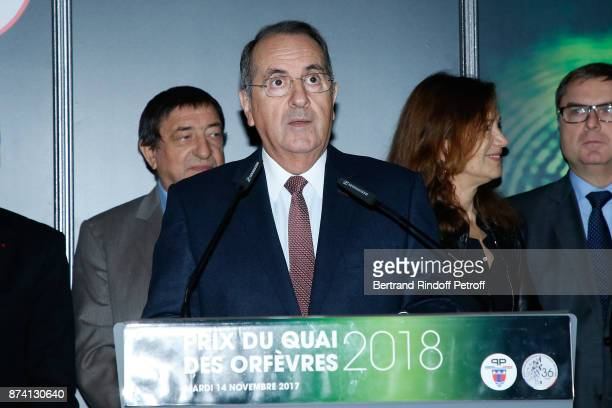 Paris Police Prefect Michel Delpuech attends Sylvain Forge wins the '71eme Prix du Quai des Orfevres 2018' for his Book 'Tension Extreme' Held for...