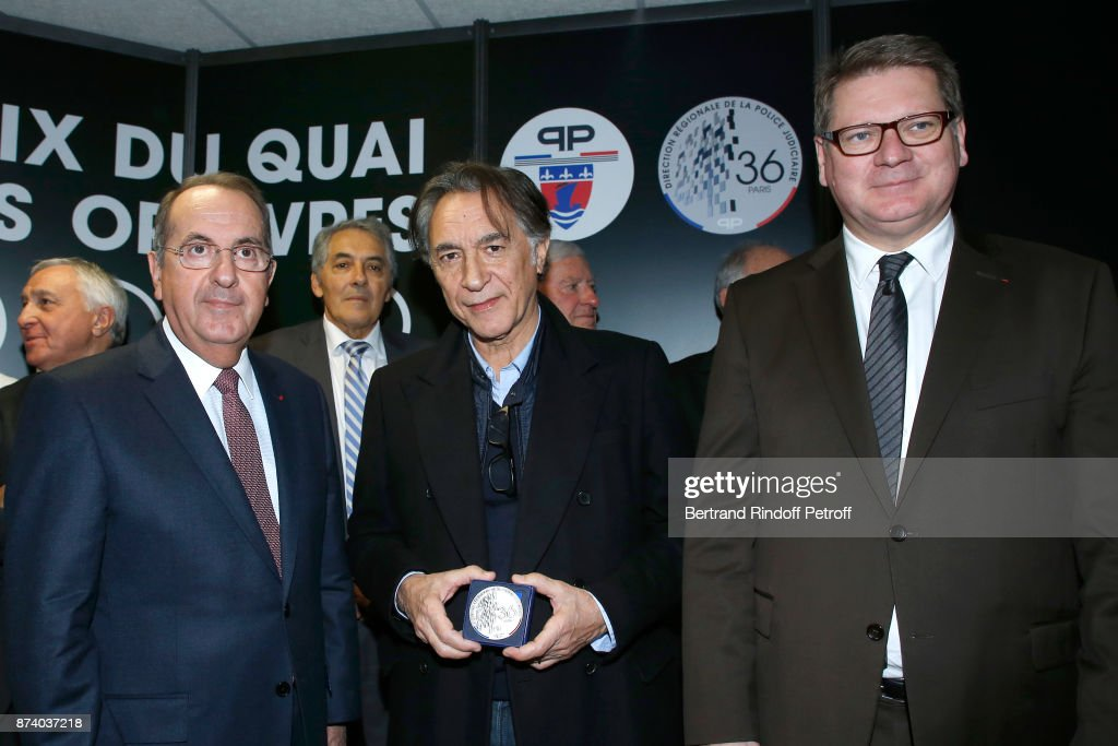 Paris Police Prefect Michel Delpuech, Sponsor of the 2018 Prize, Richard Berry and Director of the 'Police Judiciaire' Christian Sainte attend Sylvain Forge wins the '71eme Prix du Quai des Orfevres - 2018' for his Book 'Tension Extreme'. Held for the first time at new local of the 'Direction Regionale de la Police Judiciaire', 36 Rue du Bastion in Paris, France on November 14, 2017.