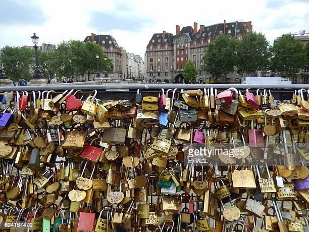 Paris' Pont Neuf, lots of love padlocks