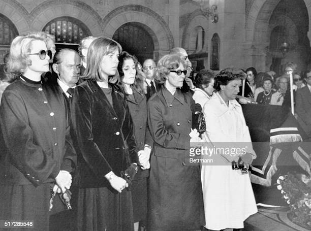 Princess Grace and Princess Caroline of Monaco share the family pew with Maria Callas' sister Hyacinthia and an unidentified niece at funeral...