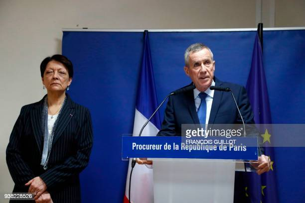 Paris prosecutor Francois Molins speaks during a press conference at Paris court house on March 26 2018 following a jihadist gunman's attacks on...