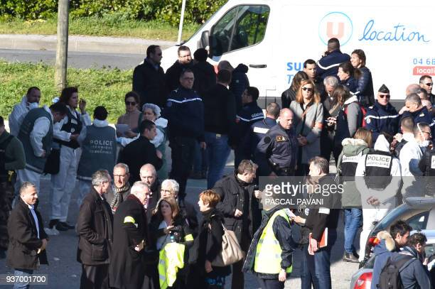 Paris prosecutor Francois Molins speaks to French security and police outside the Super U supermarket in the town of Trebes southern France where a...
