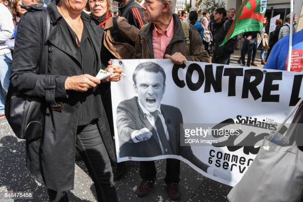 Paris protest march against Emmanuel Macrons proposed the labor law reform on Sep12 2017 Thousands of protesters and unions gathered at Place de la...