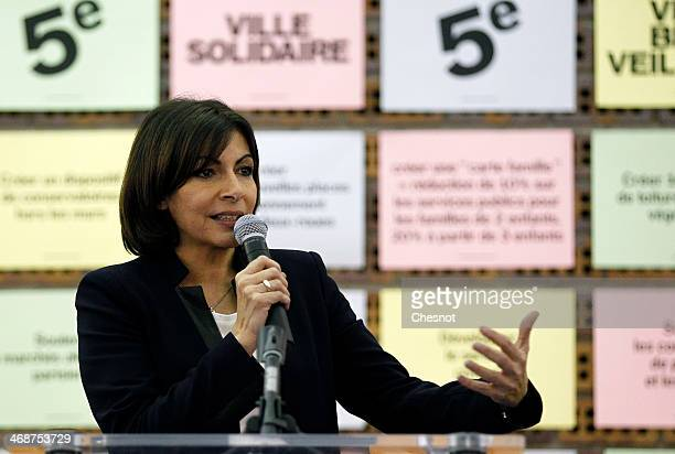 Paris PS mayoral candidate Anne Hidalgo delivers a speech during a campaign meeting on February 11 2014 in Paris France Anne Hidalgo is currently...
