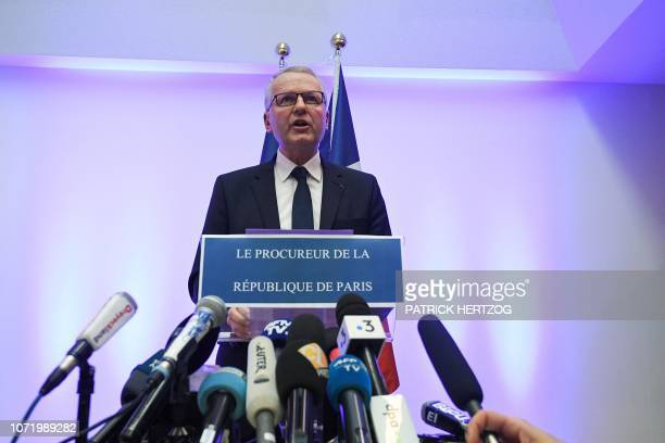 TOPSHOT Paris Public Prosecutor Remy Heitz delivers a speech during a press conference at the Strasbourg's High courthouse TGI in Strasbourg...