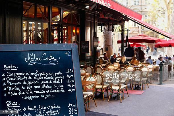Paris restaurant with menu board
