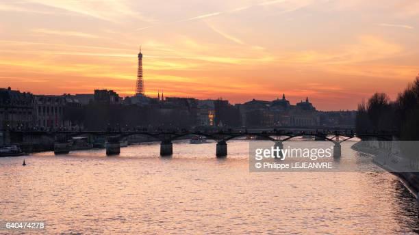 Paris - River Seine and bridge at sunset