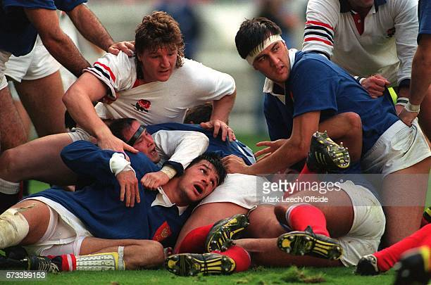 Paris Rugby World Cup France v England Micky Skinner and Brian Moore get trapped in a ruck with Laurent Cabannes and Olivier Roumat