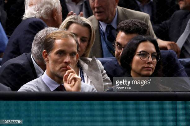 Paris Saint Germain Coach Thomas Tuchel and his wife Sissi attend the final of the Rolex Paris Masters on November 4 2018 in Paris France