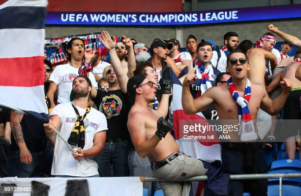 Paris Saint Germain Ultras fans show their support before the UEFA Women's Champions League Final match between Lyon and Paris Saint Germain at...