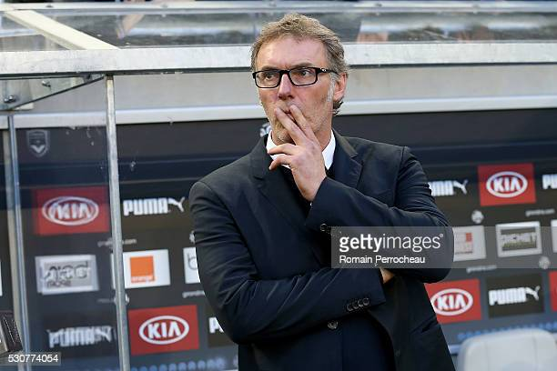 Paris Saint Germain's head coach Laurent Blanc looks on before the French Ligue 1 match between FC Girondins de Bordeaux and Paris SaintGermain at...
