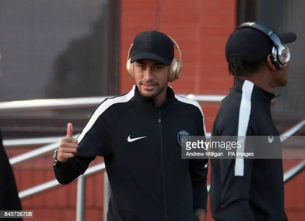 Paris Saint Germain's Neymar following a walkaround of Celtic Park Glasgow