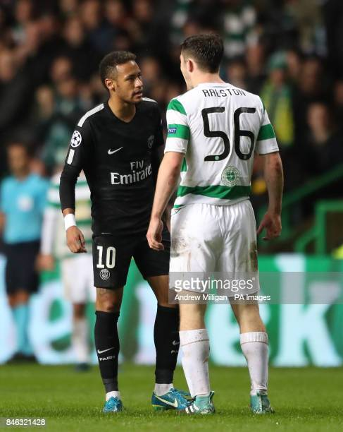 Paris Saint Germain's Neymar with Celtic's Anthony Ralston during the UEFA Champions League Group B match at Celtic Park Glasgow