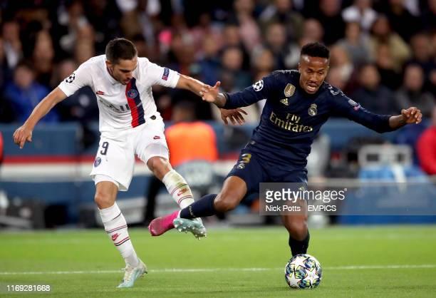 Paris Saint Germain's Pablo Sarabia and Real Madrid's Gabriel Eder Militao Paris Saint Germain v Real Madrid UEFA Champions League Group A Parc des...