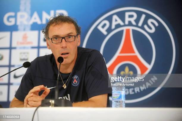 Paris SaintGermain coach Laurent Blanc attends a press conference on July 19 2013 in Clairefontaine France