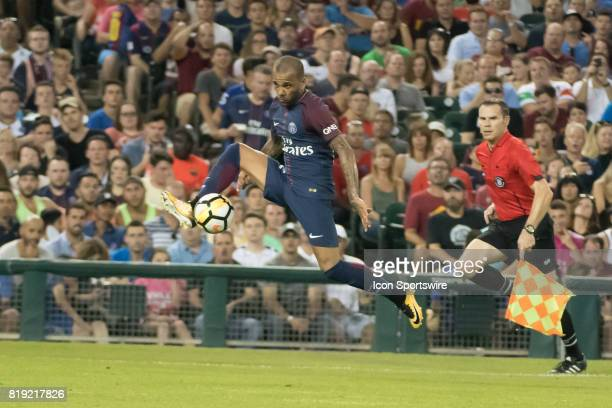 Paris SaintGermain D Dani Alves knocks the ball out of the air during the International Champions Cup match between AS Roma and Paris SaintGermain on...