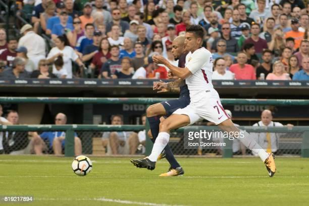 Paris SaintGermain D Layvin Kurzawa and AS Roma D Luca Pellegrini chase down the ball during the International Champions Cup match between AS Roma...