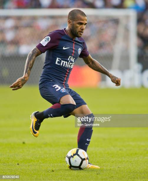 Paris SaintGermain defender Dani Alves controls the ball during an International Champions Cup match between AS Roma and Paris SaintGermain on July...