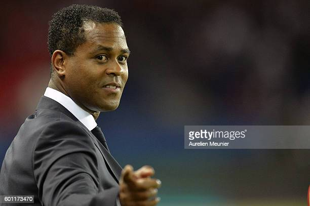 Paris SaintGermain Director of Football Patrick Kluivert reacts before the Ligue 1 match between Paris SaintGermain and AS Saint Etienne at Parc des...
