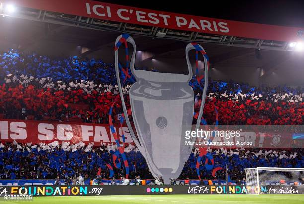 Paris SaintGermain fans display a tifo prior to the UEFA Champions League Round of 16 Second Leg match between Paris SaintGermain and Real Madrid at...