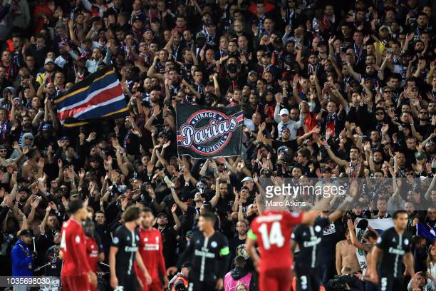 Paris SaintGermain fans during the Group C match of the UEFA Champions League between Liverpool and Paris SaintGermain at Anfield on September 18...