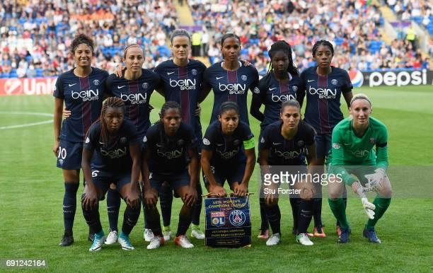 Paris SaintGermain Feminines line up prior to the UEFA Women's Champions League Final between Lyon and Paris Saint Germain at Cardiff City Stadium on...