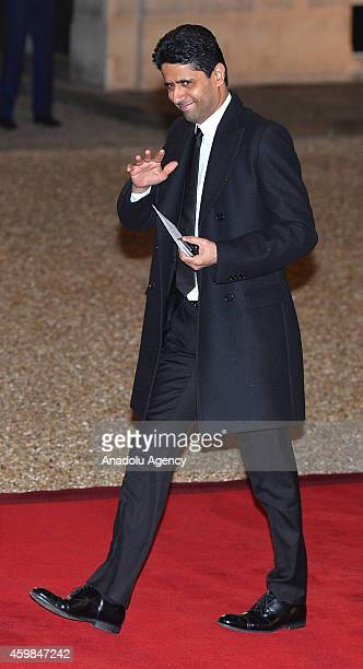 Paris SaintGermain Football Club President Nasser AlKhelaifi arrives for a state dinner in honor of Swedish King Carl XVI Gustaf and Queen Silvia of...