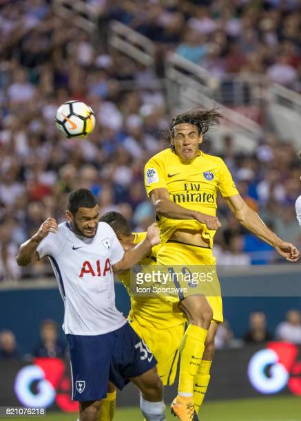 Paris SaintGermain forward Edinson Cavani heads the ball on goal during the International Champions Cup match between Tottenham Hotspur and Paris St...