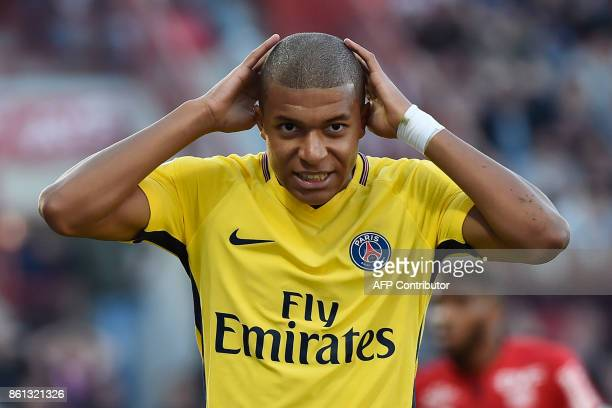 Paris SaintGermain French forward Kylian Mbappe reacts during the French L1 football match between Dijon and Paris on October 14 at the GastonGerard...