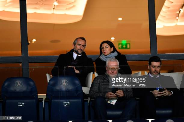 Paris SaintGermain General Manager and Marketing Executive JeanClaude Blanc and Paris Mayor Anne Hidalgo attend the UEFA Champions League round of 16...