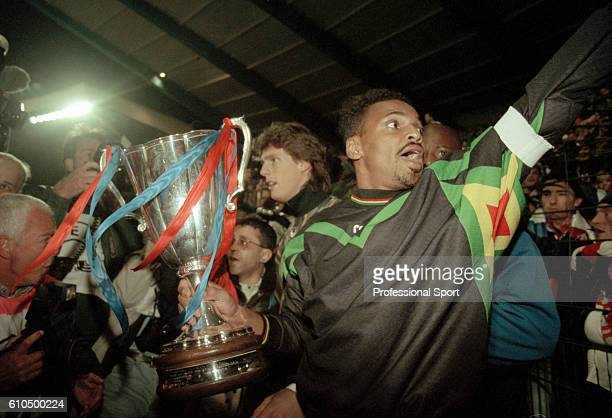 Paris SaintGermain goalkeeper Bernard Lama with the trophy after their 10 victory over Rapid Vienna in the UEFA European Cup Winner's Cup Final at...