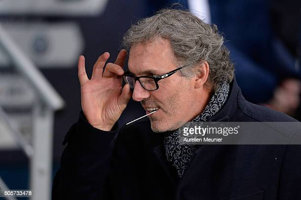 Paris SaintGermain Head Coach Laurent Blanc reacts as the teams enters the field for the French Cup game between Paris SaintGermain and Toulouse FC...