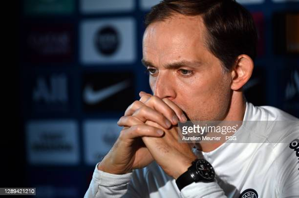Paris Saint-Germain head coach Thomas Tuchel answers journalists during a virtual press conference at Ooredoo Center on December 04, 2020 in Paris,...