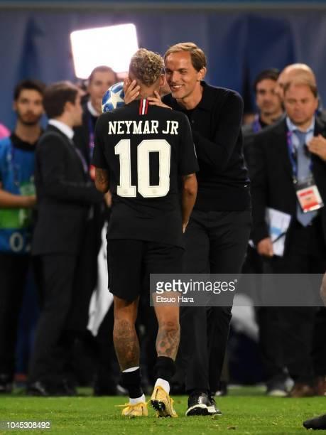 Paris SaintGermain head coach Thomas Tuchel celebrates Neymar's hat trick during the Group C match of the UEFA Champions League between Paris...